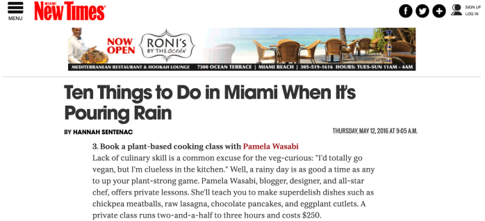 Miami New Times - 3 Things to do in a Rainy Day