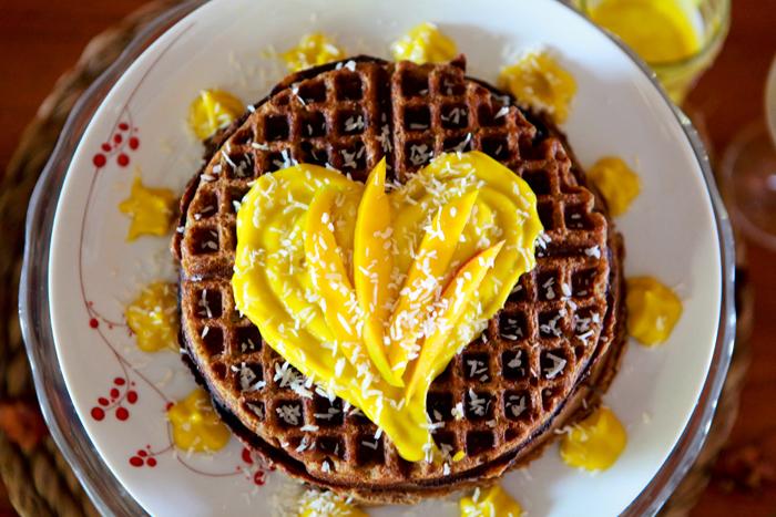 Zucchini Waffles with Raw Mango Mousse_Vegan_Recipe01