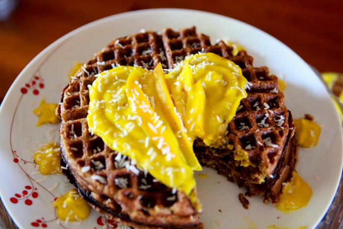 Zucchini Waffles with Raw Mango Mousse_Vegan_Recipe07