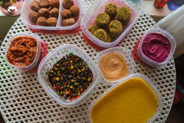 Falafel, Beet Hummus, Mushroom Bolognese, Pumpkin Soup