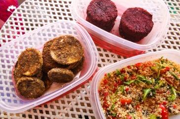 Eggplant, Beet Burger, Quinoa Salad