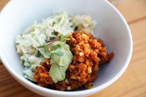 Side Dish: Pina and Cucumber Slaw, Arroz Rojo, Guacamole Crema
