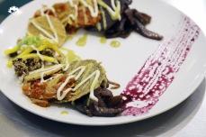 TACOS: Black Rice Tostada, Eggplant Carnitas, Pickled Mango, Chipotle Corn Tostada, Guajillo BBQ Jackfruit, Sour Cream, Pepita Pistachio Tostada, Baja Hemp Crusted Mushrooms, Preserved Lime