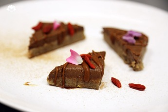 Raw Mayan Chocolate Cake, Goji Crystals, Chipotle, Mexican Cinnamon