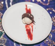 Amaretto Ice Cream, Double Chocolate Cookie, Smoked Cherry Couli